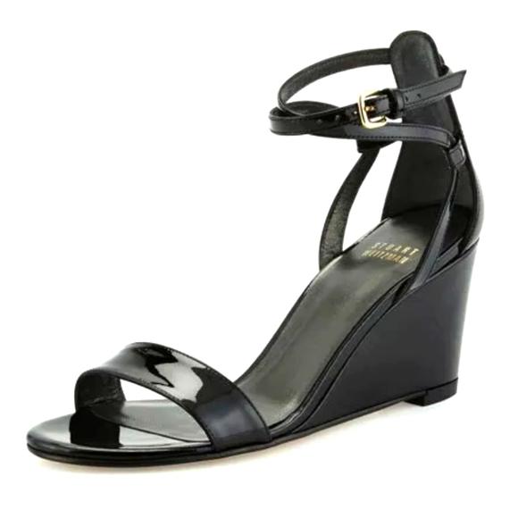 Stuart Weitzman Black Patent Wedge Sandals size 8 M